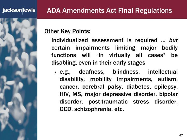 ADA Amendments Act Final Regulations