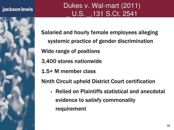 Dukes v. Wal-mart (2011)