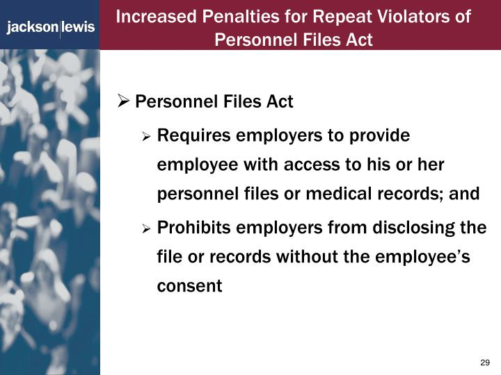 Increased Penalties for Repeat Violators of Personnel Files Act