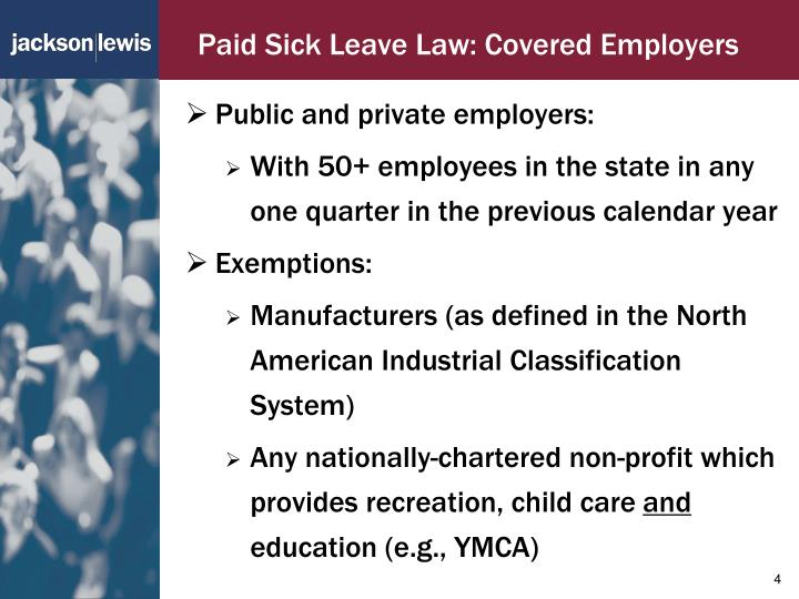 Paid Sick Leave Law: Covered Employers