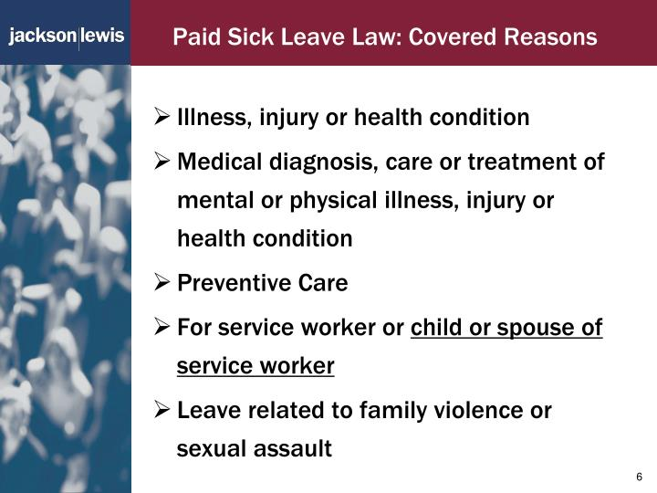 Paid Sick Leave Law: Covered Reasons