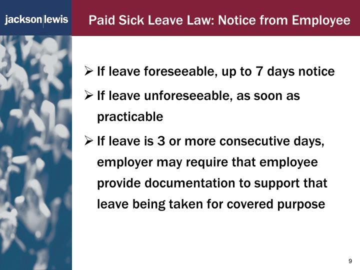 Paid Sick Leave Law: Notice from Employee