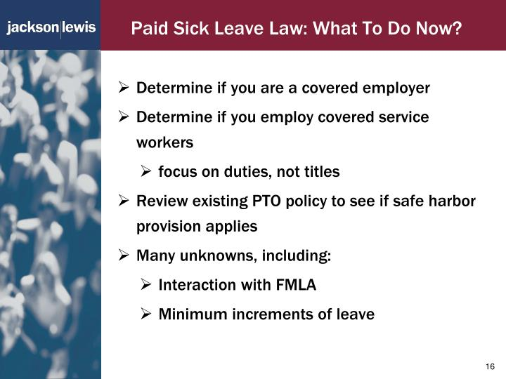 Paid Sick Leave Law: What To Do Now?