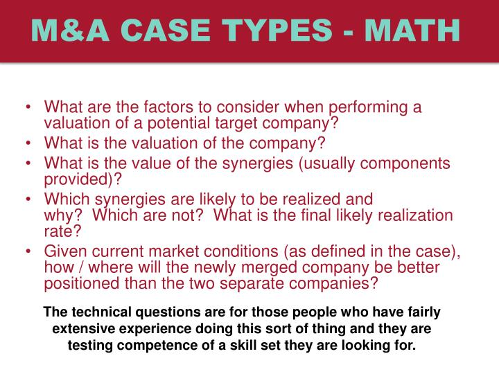 M&A case types - Math