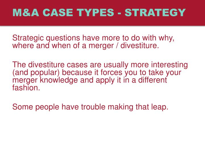 M a case types strategy
