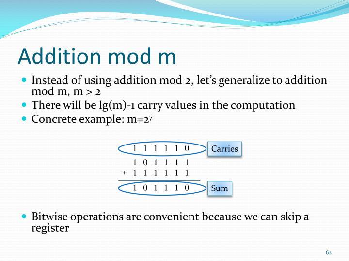 Addition mod m