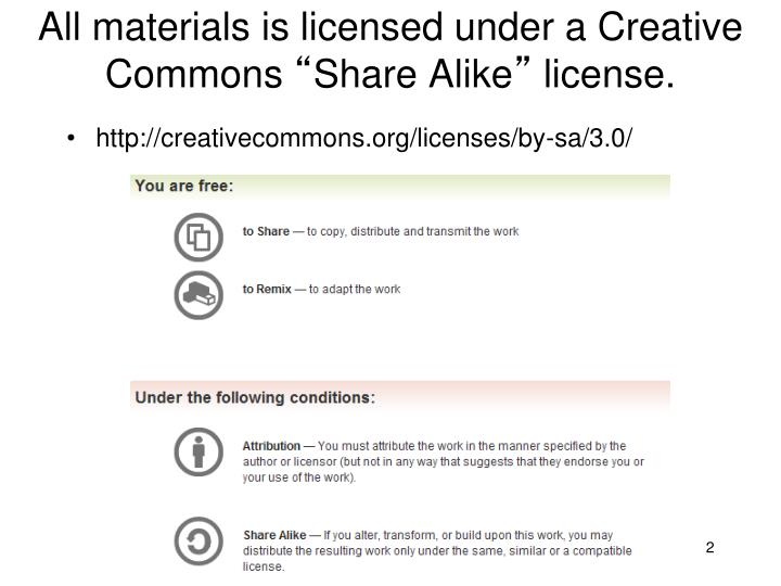 All materials is licensed under a Creative Commons