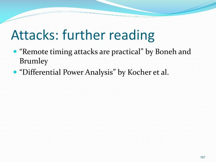 Attacks: further reading