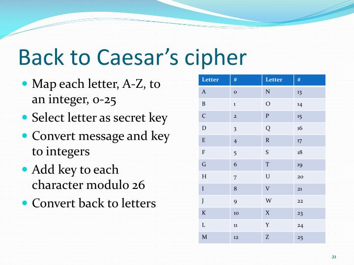 Back to Caesar's cipher