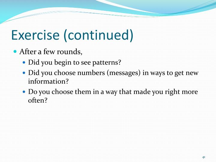 Exercise (continued)