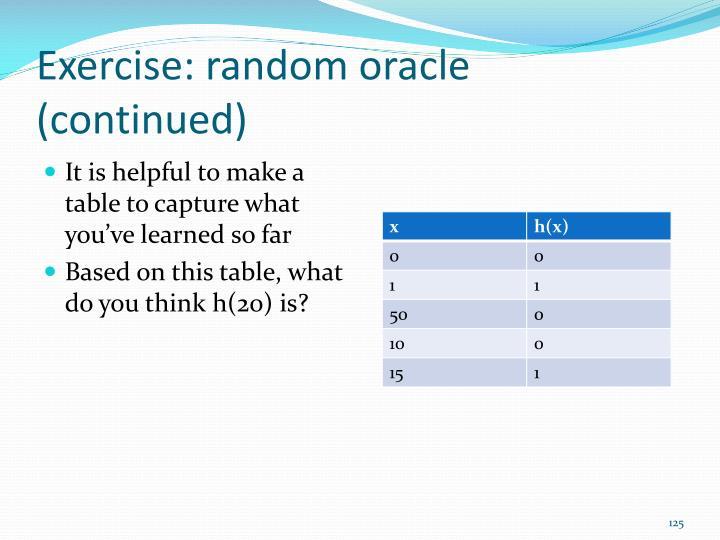 Exercise: random