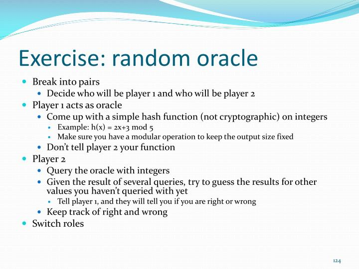 Exercise: random oracle