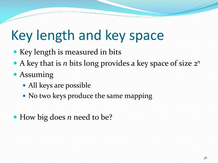 Key length and key space