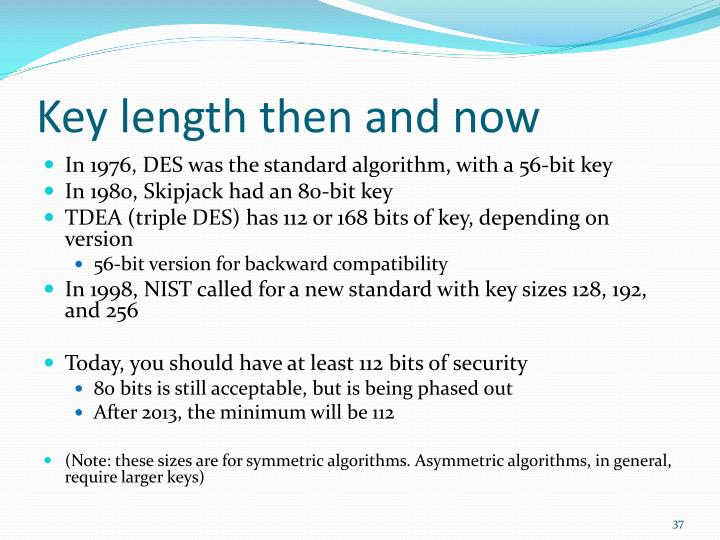 Key length then and now