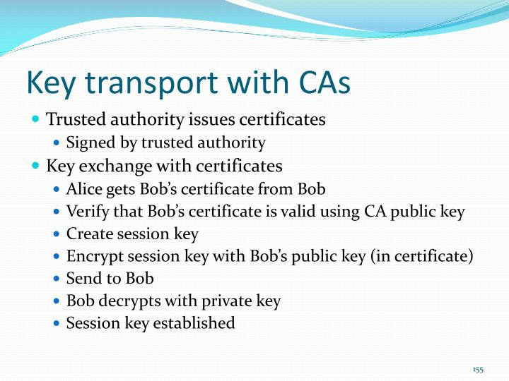 Key transport with CAs