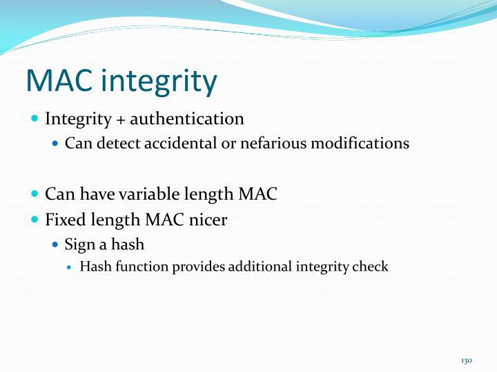 MAC integrity