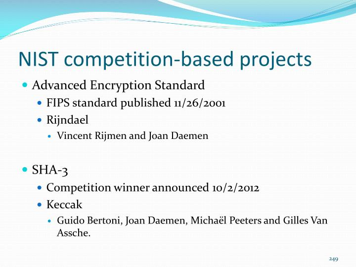NIST competition-based projects