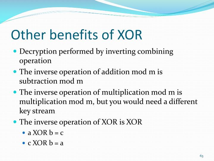 Other benefits of XOR