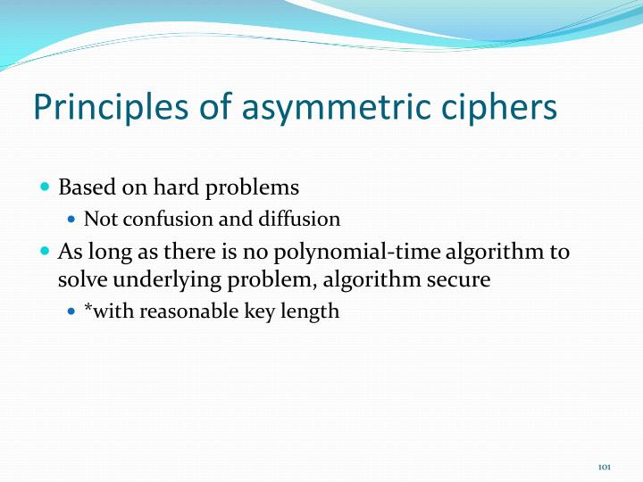 Principles of asymmetric ciphers