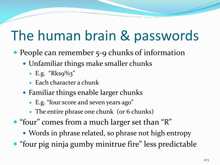 The human brain & passwords