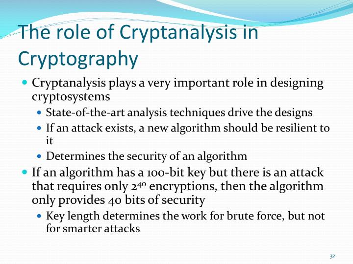 The role of Cryptanalysis in Cryptography