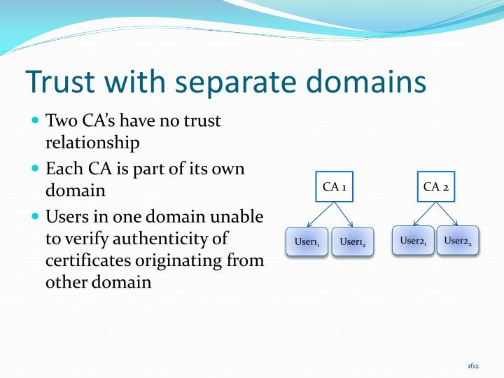 Trust with separate domains