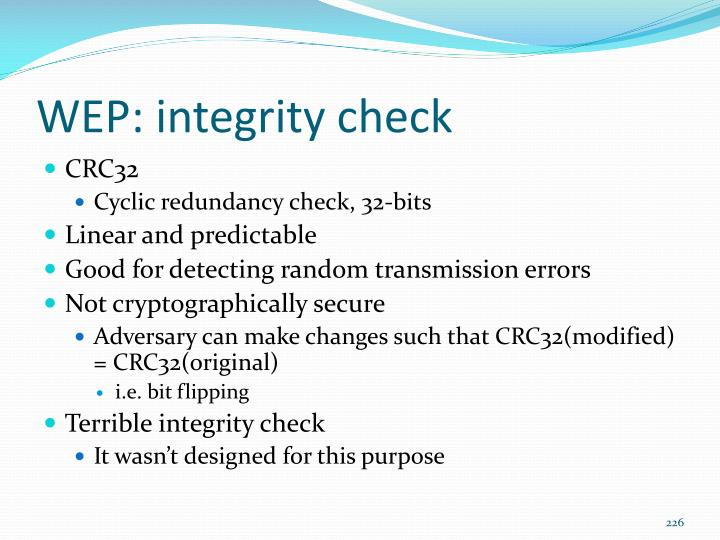 WEP: integrity check