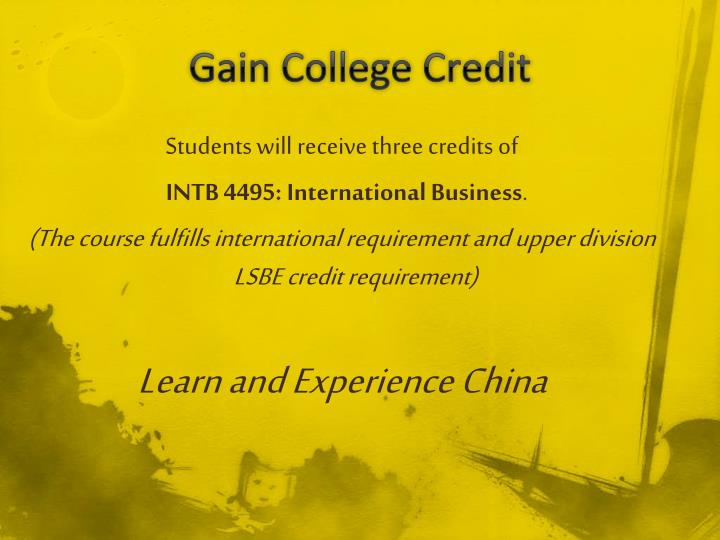 Gain College Credit