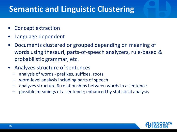 Semantic and Linguistic Clustering