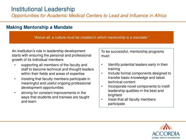 Institutional Leadership