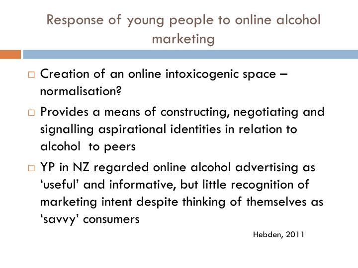 Response of young people to online alcohol marketing