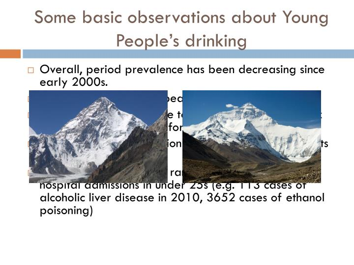 Some basic observations about Young People's drinking