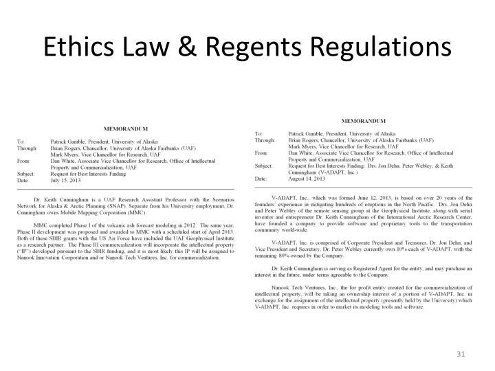 Ethics Law & Regents Regulations