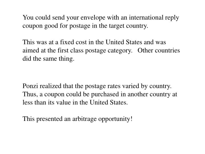 You could send your envelope with an international reply coupon good for postage in the target country.