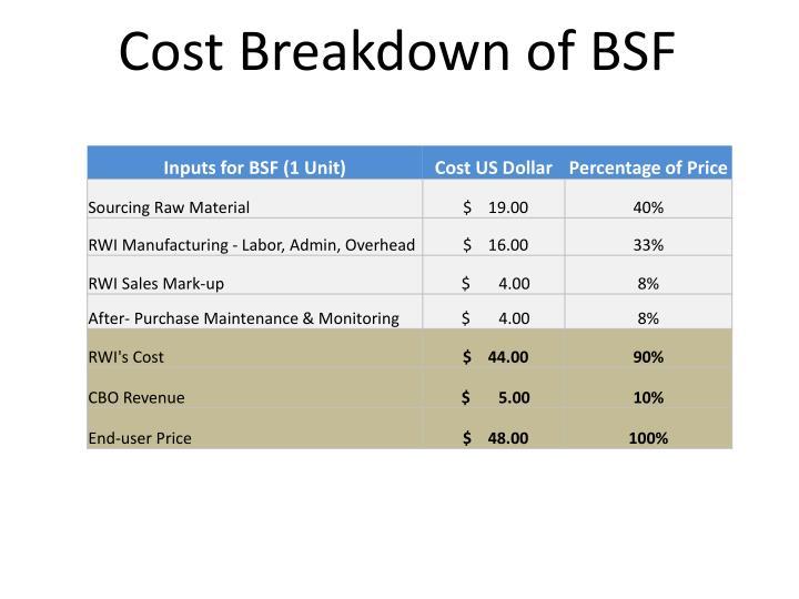 Cost Breakdown of BSF