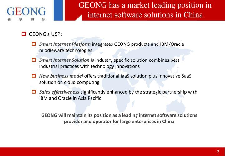GEONG has a market leading position in