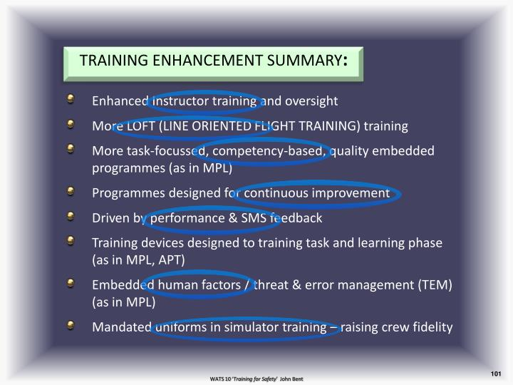 TRAINING ENHANCEMENT SUMMARY