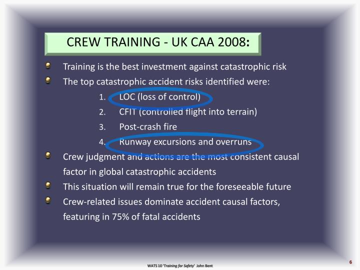 CREW TRAINING - UK CAA 2008