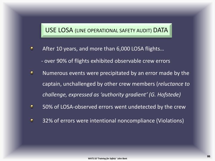 After 10 years, and more than 6,000 LOSA flights…