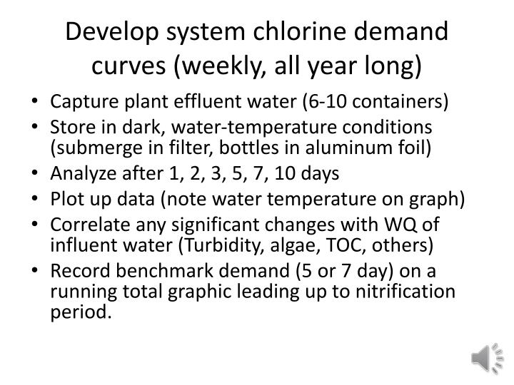 Develop system chlorine demand curves (weekly, all year long)