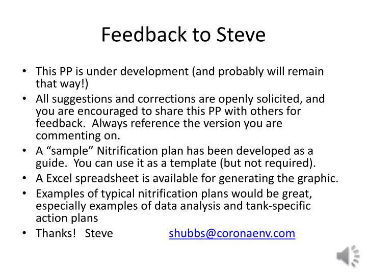 Feedback to Steve