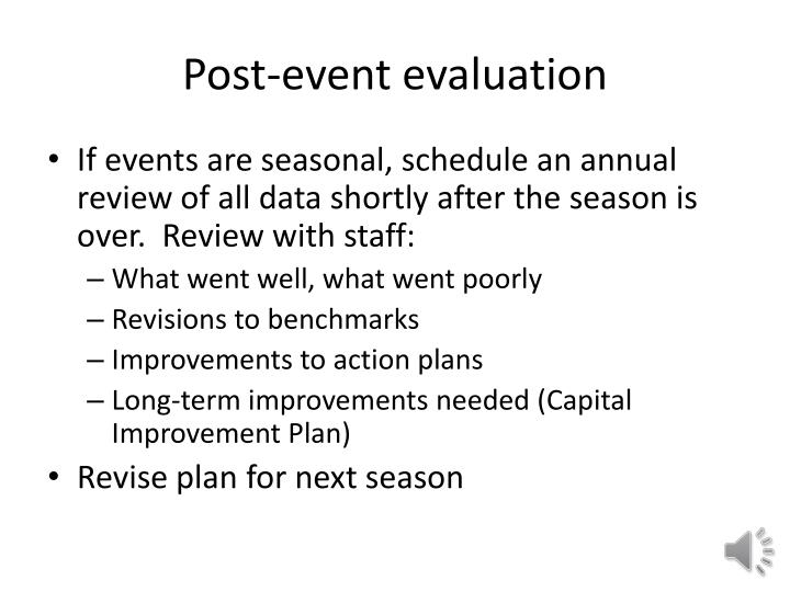 Post-event evaluation