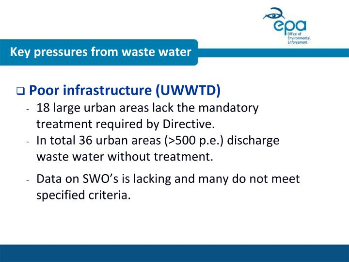 Key pressures from waste water