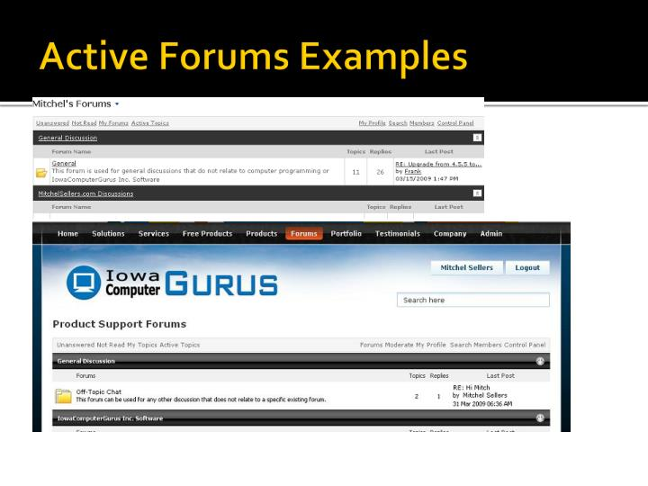 Active Forums Examples