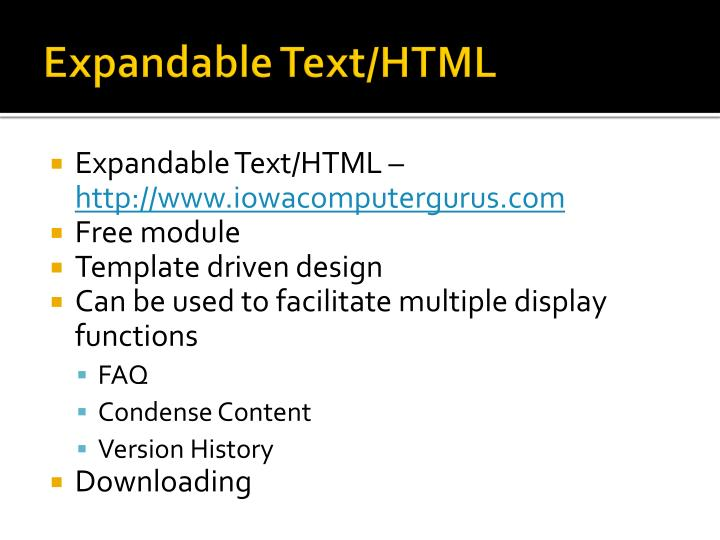 Expandable Text/HTML