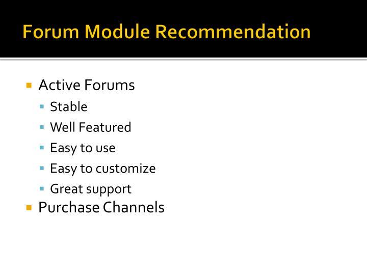 Forum Module Recommendation