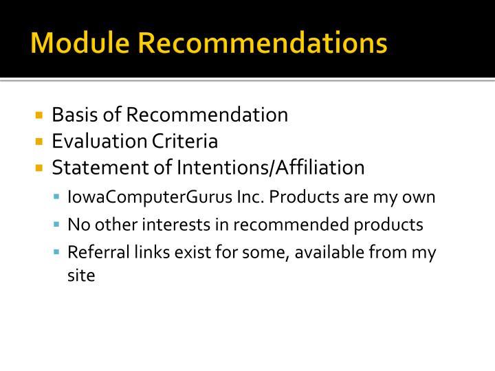 Module Recommendations