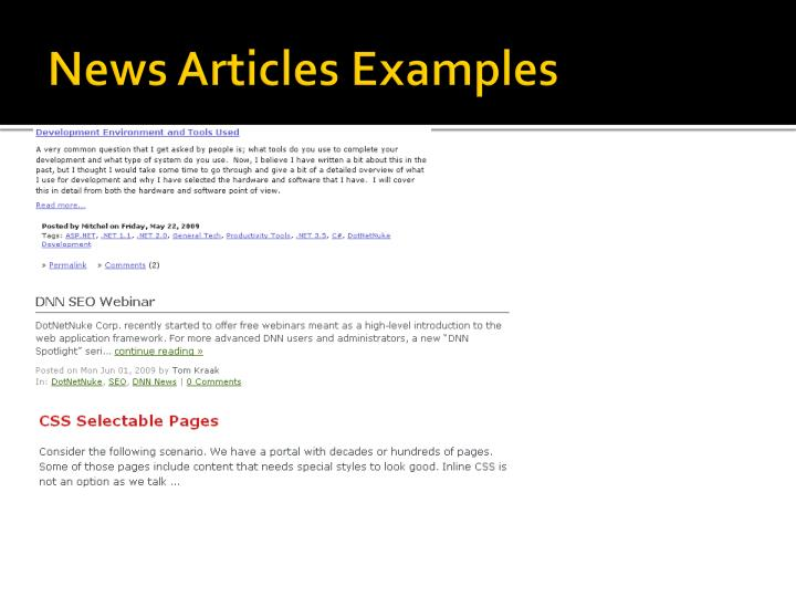 News Articles Examples