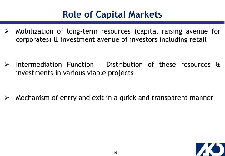 Role of Capital Markets