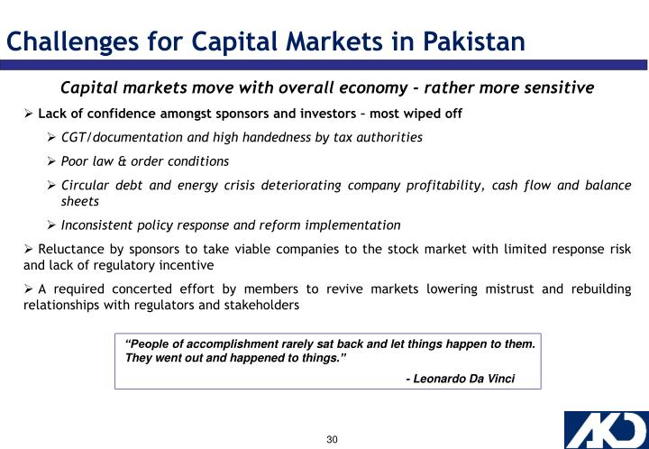 Challenges for Capital Markets in Pakistan